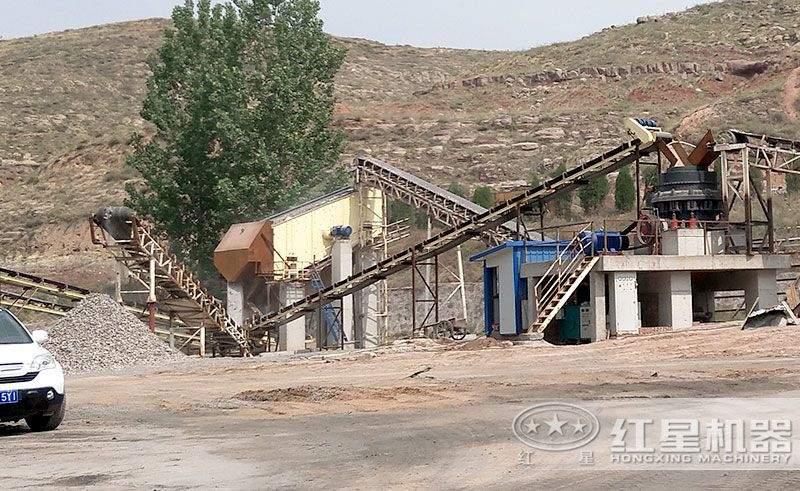 时产200吨的砂石厂生产线安装现场