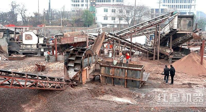 浙江建筑垃圾移动破碎制砂生产现场