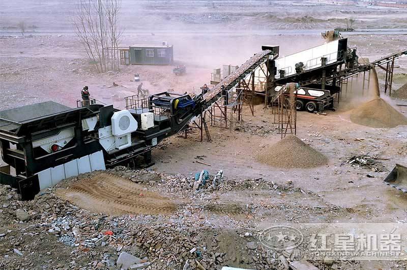 移动建筑垃圾粉碎生产线现场