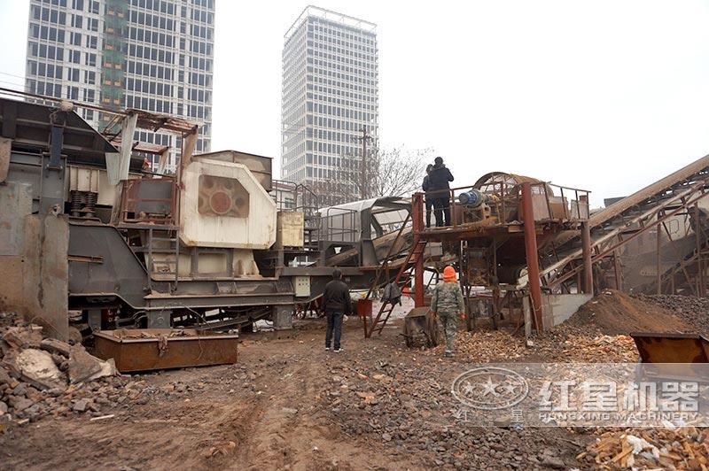 时产200吨建筑垃圾工地分类机器处理现场