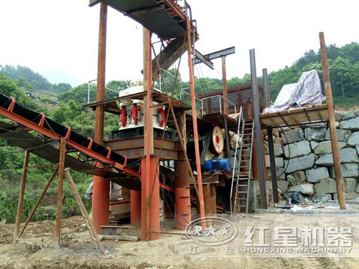 广西岑溪花岗岩破碎生产线现场