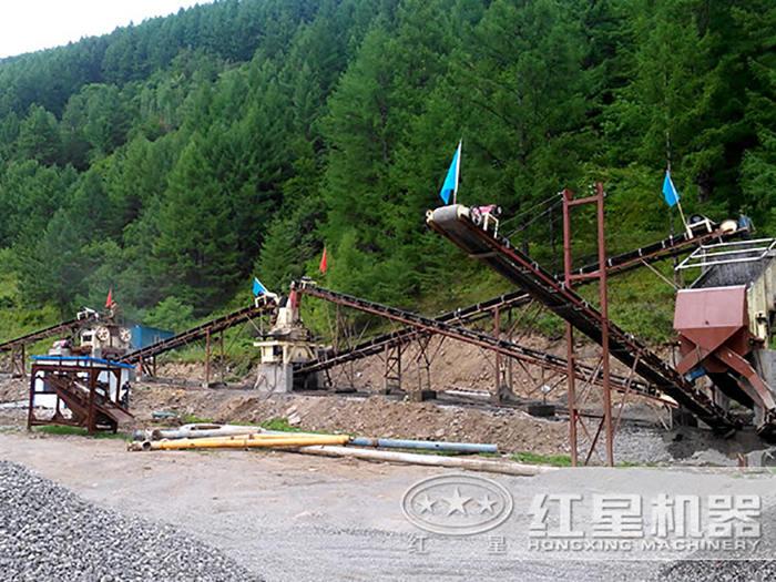 时产500吨的花岗岩打沙生产线现场