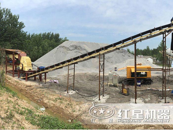 时产500吨的锤式碎石机现场