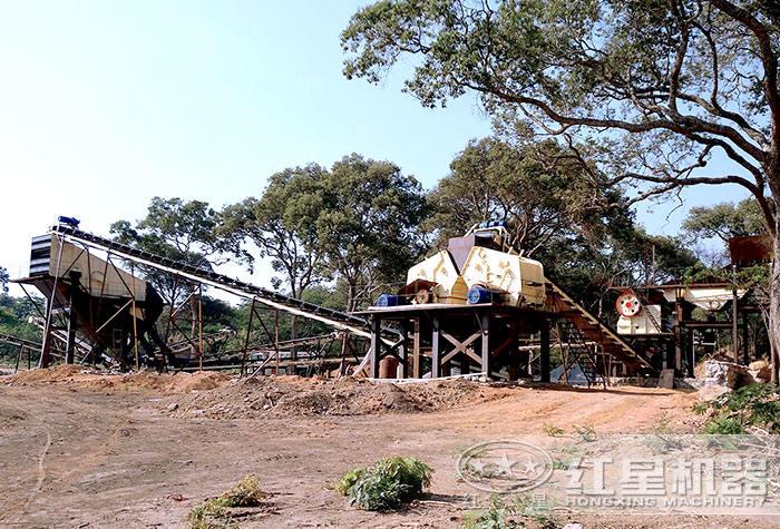 安徽时产300吨的石灰石生产线现场