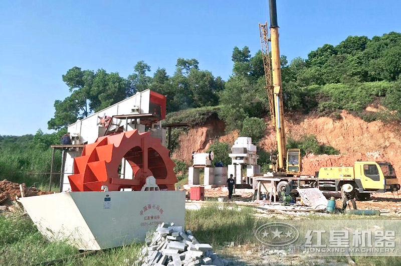 福建洗砂机生产线正在安装