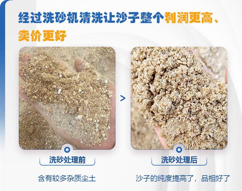 洗砂机洗砂前后对比