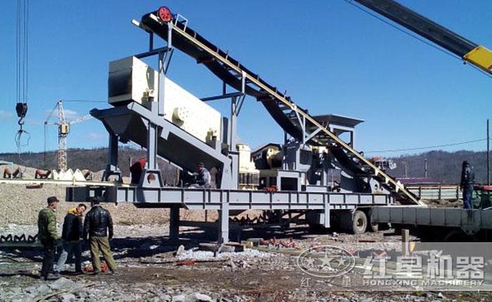 山西长治移动破碎站生产线安装现场