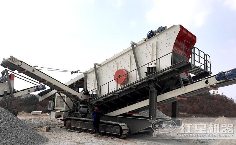 时产300吨的移动式破碎机现场