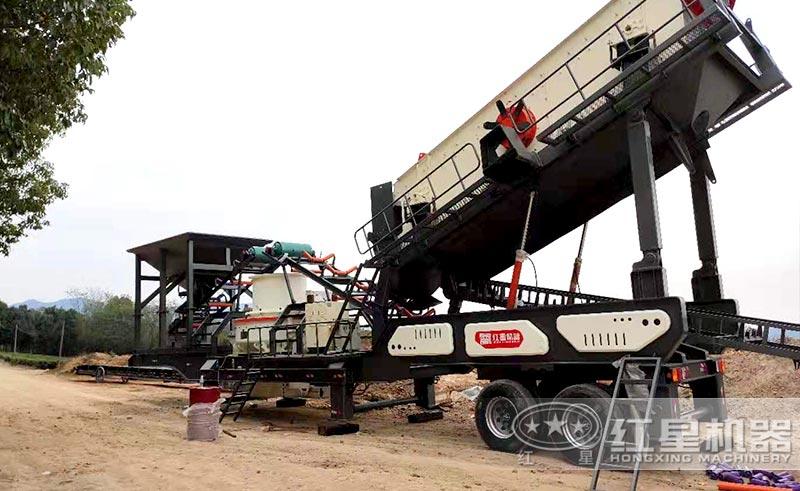 时产100吨的可以移动的河卵石制砂生产线