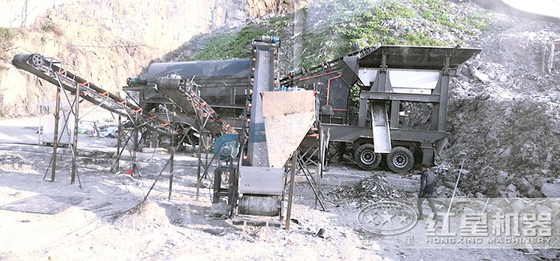 大型车载移动式粉石机搭载反击破碎机