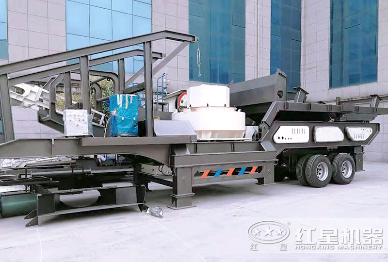 大型车载移动式粉石机搭载制砂机
