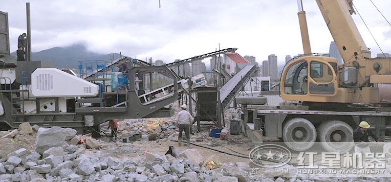 建筑垃圾处理生产线红星机器客户现场