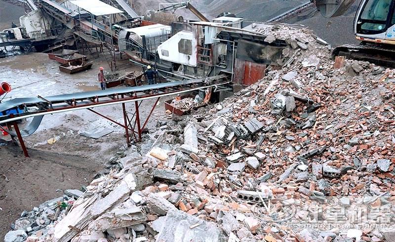 大型建筑垃圾破碎现场
