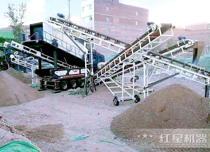 移动制砂机打砂作业现场