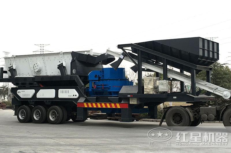 轮胎式移动环保制砂机发货