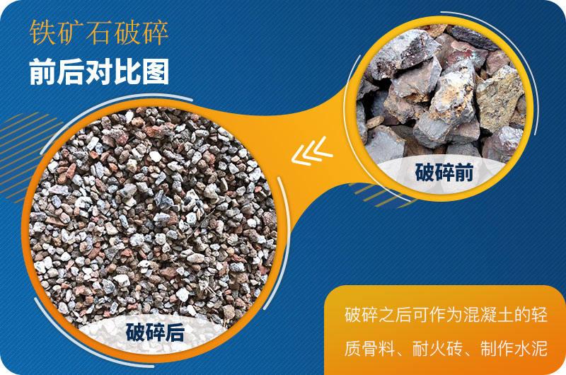 铁矿石原料破碎前后对比