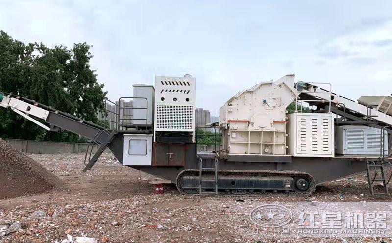 移动碎石粉沙机作业现场