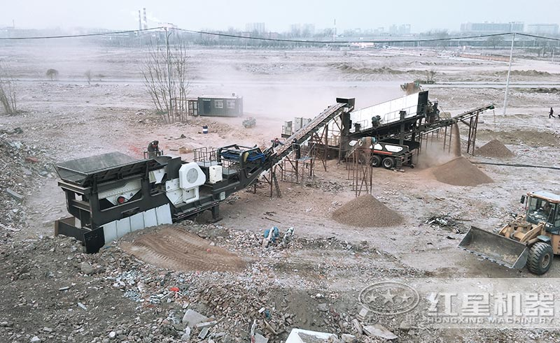 中型建筑垃圾再生利用厂现场图