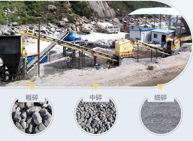 石头打石机生产现场,不同规格的成品展示