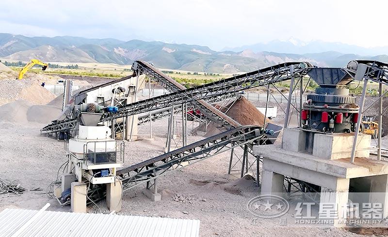 时产300吨石子生产线现场