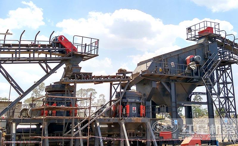 石料碎石机全套生产线设备现场图