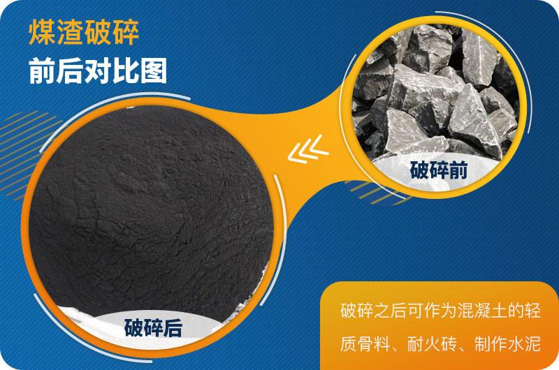 煤渣破碎前后对比
