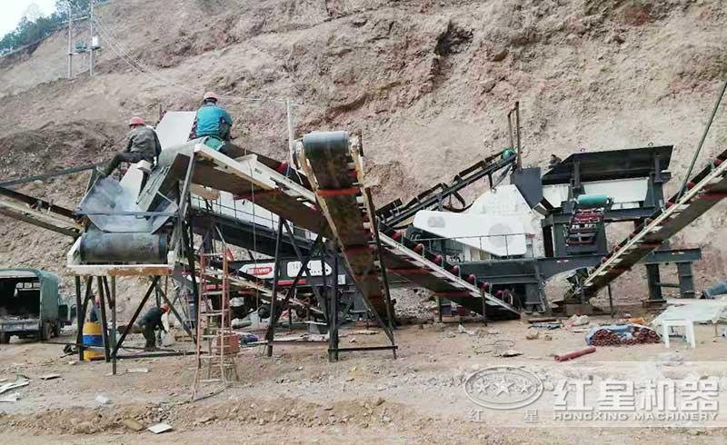 移动石头粉碎机山区工作