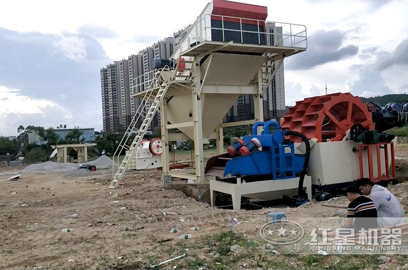 中小型固定破碎机建筑垃圾工地处理现场
