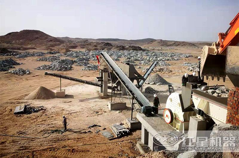 石灰岩简易制砂生产线可用重锤式破碎机