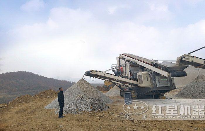 红星机器广州用户移动破碎机施工现场