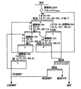 浮选—磁选的选矿工艺流程