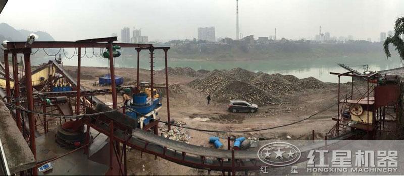 河卵石制沙机的应用现场