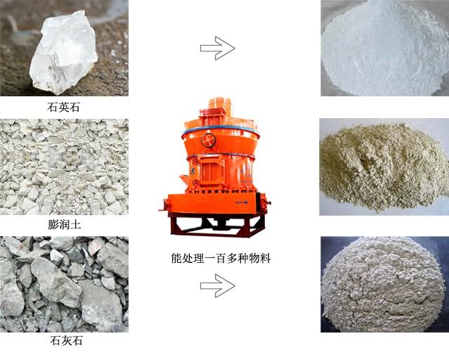 雷蒙磨粉机能磨物料及出料细度展示
