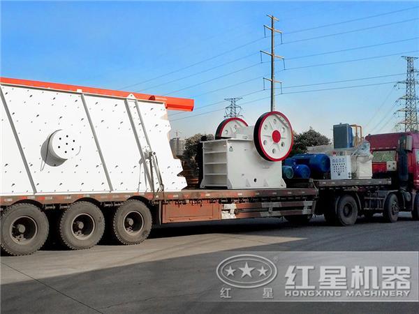 日产2.5万吨高钙石矿破碎机厂区发货图