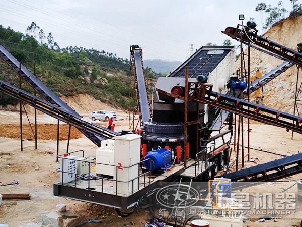 时产150吨全液压圆锥可以提现的二八杠现场
