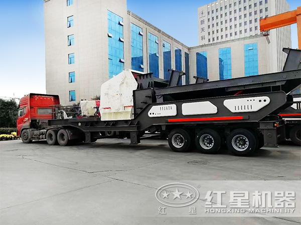 时产150吨石头移动嗑石机厂区发货图