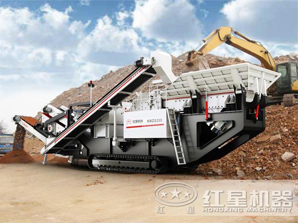 移动破碎站粉碎废弃混凝土生成再生骨料