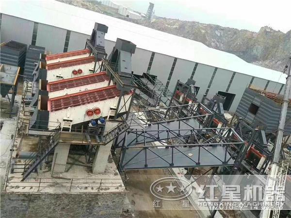 时产1500吨重锤式破碎石料生产线设备现场