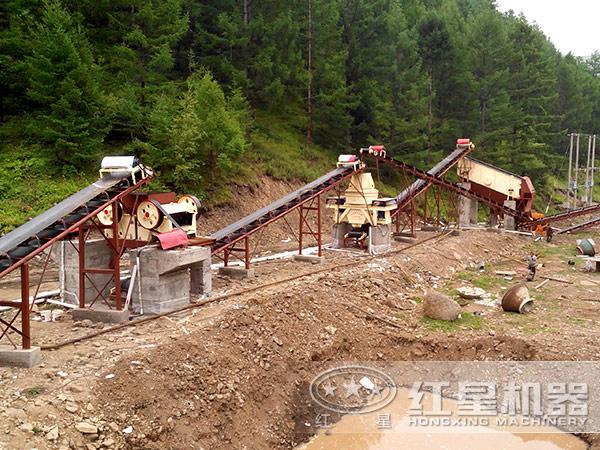 陕西渭南时产100吨河卵石碎石生产现场