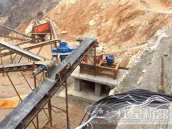 450吨石灰石制砂生产线现场作业图