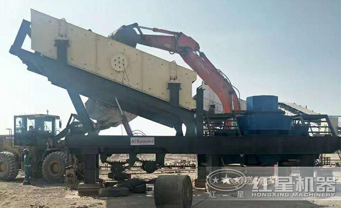 山东用户配置了移动机制砂生产现场
