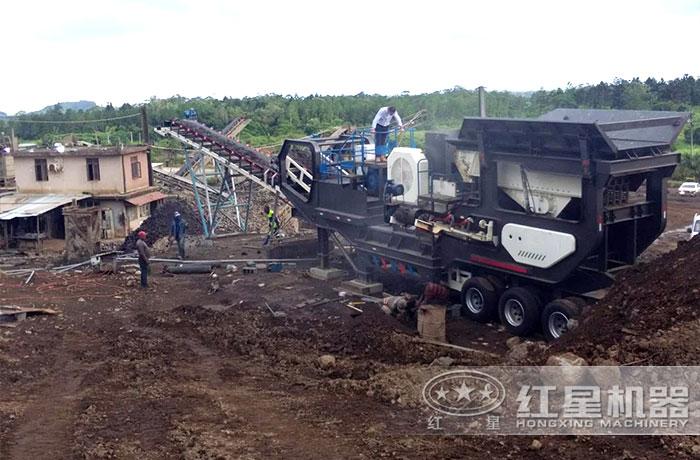 时产200吨移动石料破碎生产线