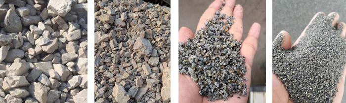 石头破碎成石子和沙子
