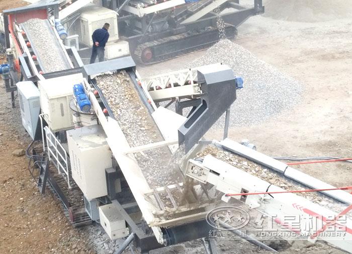 流动碎石打沙机自动化生产作业现场