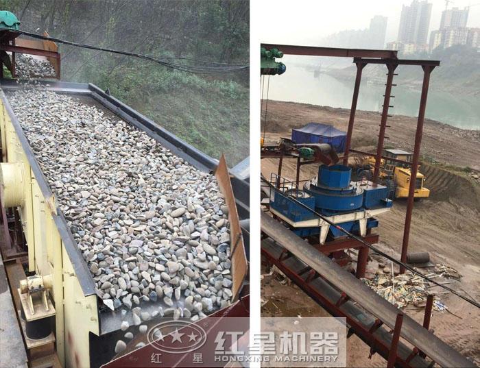 河卵石破碎制砂生产作业图