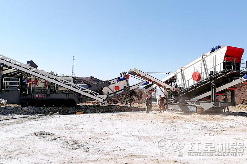 履带式矿山破碎机施工现场