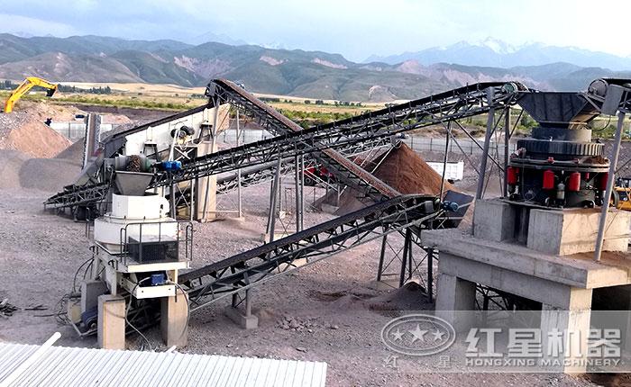吉尔吉斯坦石子碎沙机用户施工现场生产线--核心设备vsi制砂机