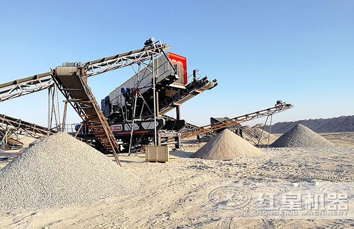 移动砂石生产线加工之后的物料成品展示