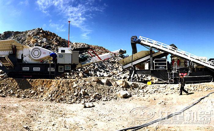 可移动破碎站组成的石子破碎生产线