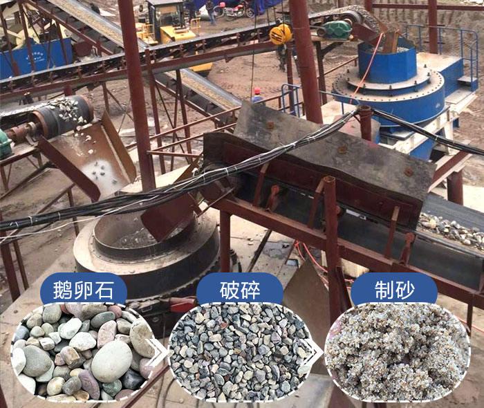 9526型制沙机加工鹅卵石成品展示